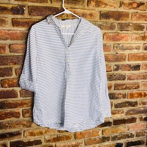 Miami Francesca's 1/4 Button Striped Blouse Medium